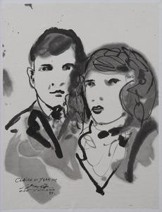 CHU Teh-Chun - Drawing-Watercolor - Portraits de Claire et Yvan