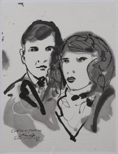 朱德群 - 水彩作品 - Portraits de Claire et Yvan