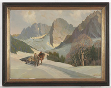 "Ivo SALIGER - Painting - ""Winter in Tyrol"" large oil painting"