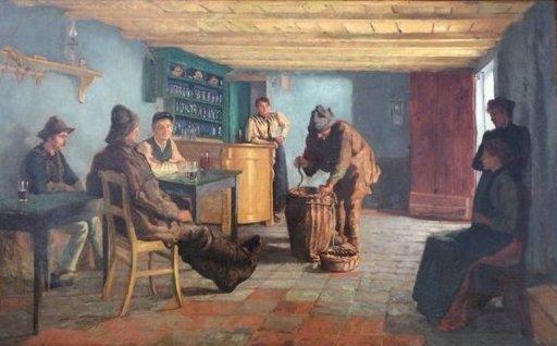 Willem ALBRACHT - Pintura - terugkeer van de vissers in de kroeg