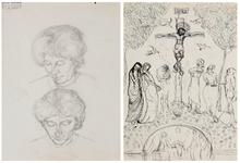 Alberto GIACOMETTI - Dibujo Acuarela - Double étude d'Annetta Giacometti