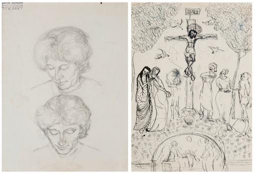 Alberto GIACOMETTI - Drawing-Watercolor - Double étude d'Annetta Giacometti