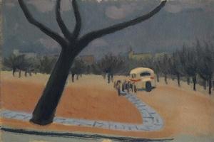 """Ludvik DVORACEK - Painting - """"Bus Stop"""", Oil Painting, ca 1940"""