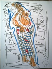Bernard MOREL - Dibujo Acuarela - AFRICAINE
