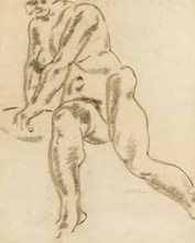 Aloys WACH - Drawing-Watercolor - Sich drehender weiblicher Akt
