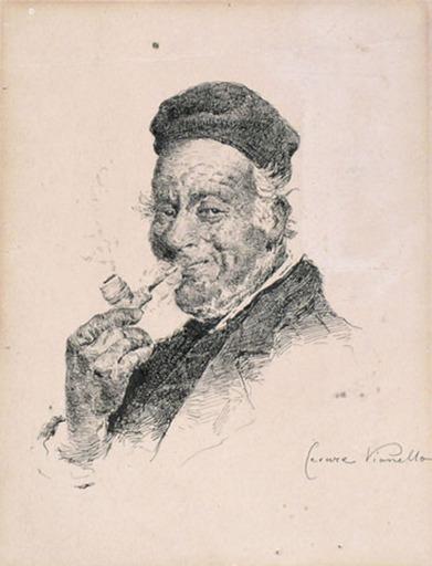 Cesare VIANELLO - Dibujo Acuarela - A PIPE SMOKER