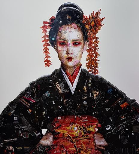 VIRUT P. - Peinture - Kimono with Golden flowers