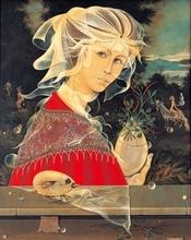 Baruch ELRON - Painting - Surrealistic Woman-Birds Nest