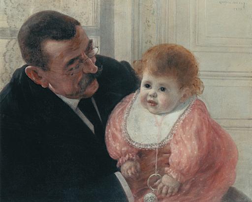 Gabriel Marie BIESSY - Pittura - Frans Biessy, figlio dell'artista e il nonno materno, 1893