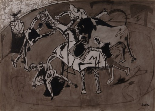 Juan BARJOLA - Drawing-Watercolor - Tauromaquia