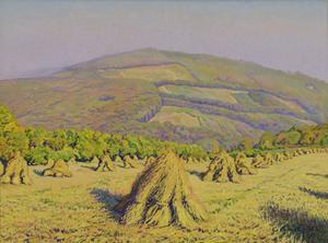 Gustave CARIOT - Peinture - Paysage aux Bottes de Blé Devant la Montagne