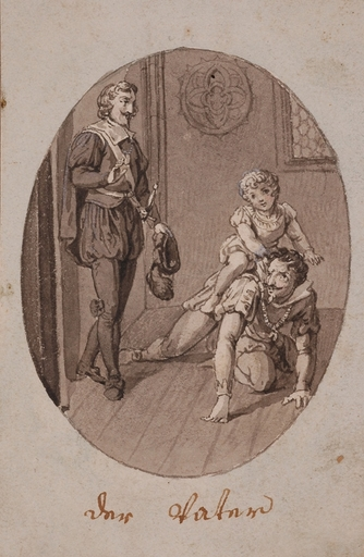 """Zeichnung Aquarell - """"Father"""", Drawing, late 18th Century"""