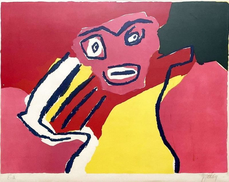 Karl APPEL - Print-Multiple - Figure on Red backround