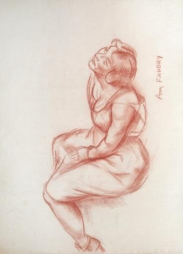 André FAVORY - Drawing-Watercolor - Etude de femme