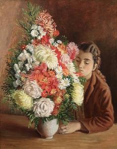 André HAMBOURG - Peinture - Le bouquet indigène
