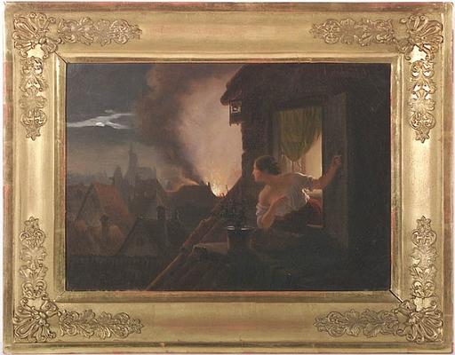 """Johann GEYER - Peinture - """"Night Fire"""", Oil on Canvas, 1842"""