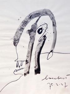 LUCEBERT - Drawing-Watercolor - Kop, 1975