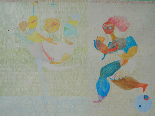 Paul GERARD - Dibujo Acuarela - LES ECOLIERS