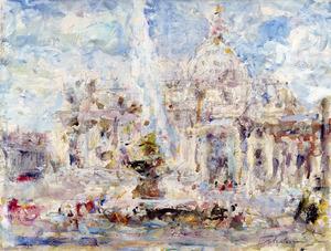 Luigi MANTOVANI - Gemälde - Piazza San Pietro, Roma