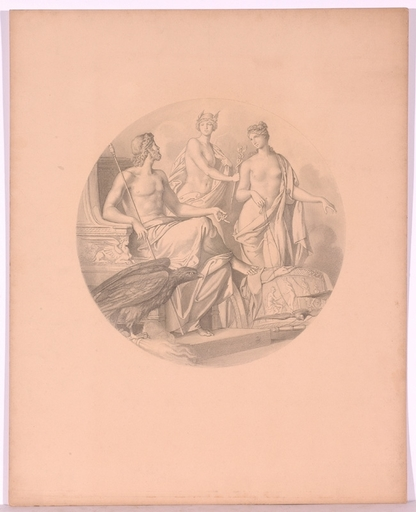 "Sigmund LANDSINGER - Drawing-Watercolor - ""Mythological Scene"", Drawing"