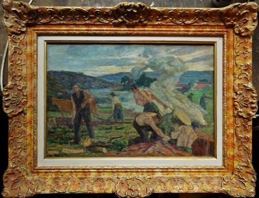 Charles Jean AGARD - Pittura - Les défricheurs en bord de Creuse