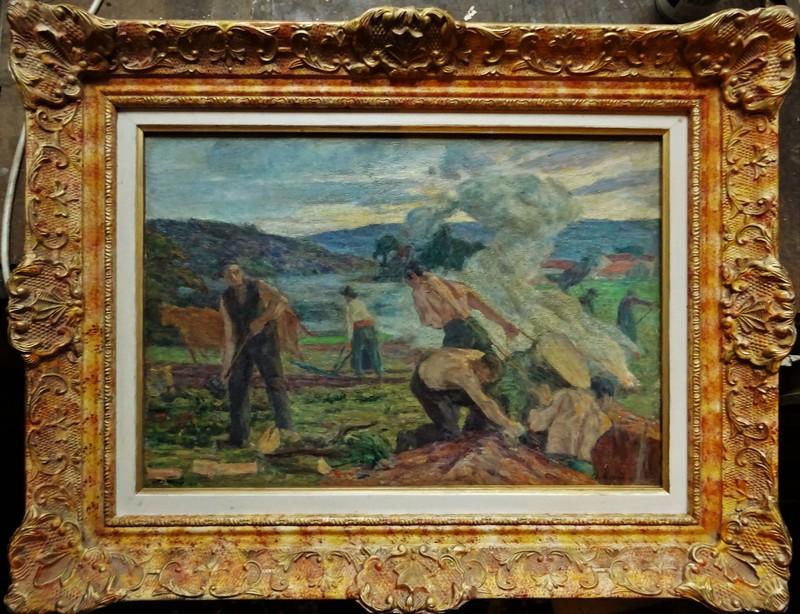 Charles Jean AGARD - Painting - Les défricheurs en bord de Creuse