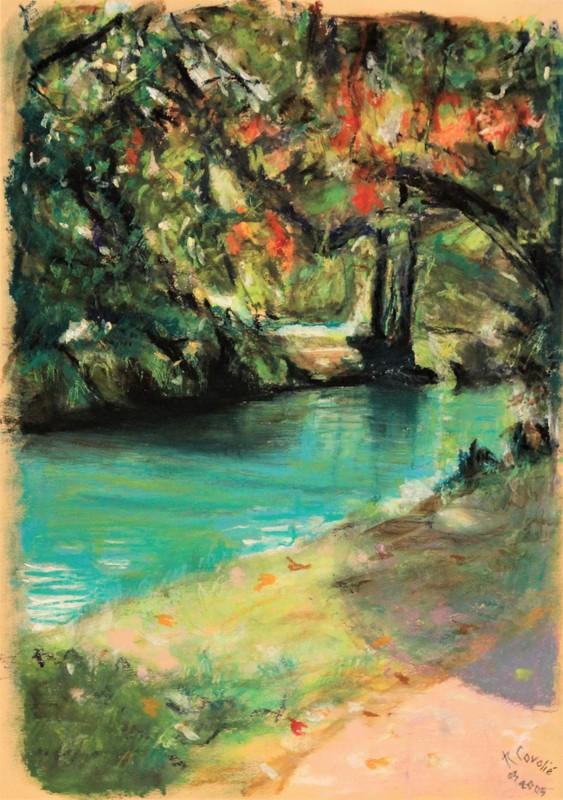 R.CAVALIÉ - Drawing-Watercolor - Début d'automne sur le canal.