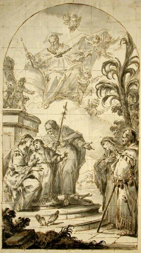 Giuseppe ZAIS - Drawing-Watercolor - The Holy Family with Saint Ann, oachim and God the Father