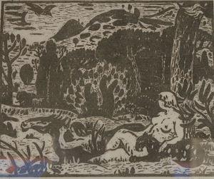 Adolphe Marie BEAUFRERE - Print-Multiple - Adam et Eve au paradis
