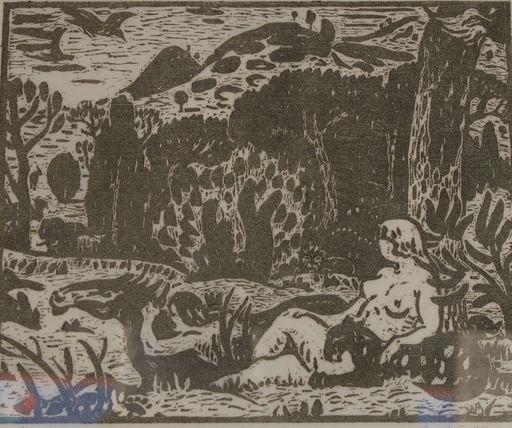 Adolphe Marie BEAUFRERE - Grabado - Adam et Eve au paradis