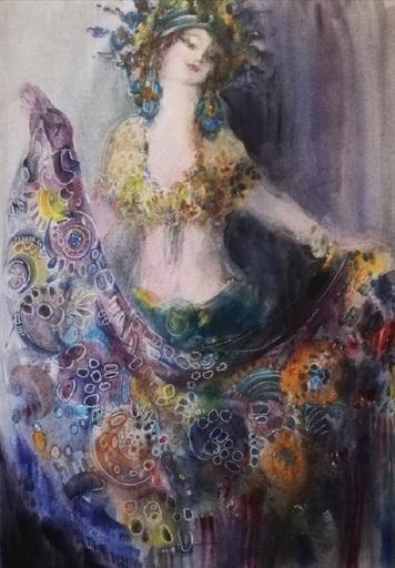 "Irina BELOPUKHOVA - Drawing-Watercolor - ""Scheherazade"" Young mysterious woman"