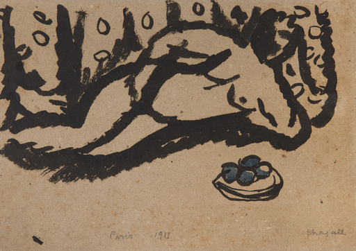 Marc CHAGALL - Drawing-Watercolor - Nu aux pommes