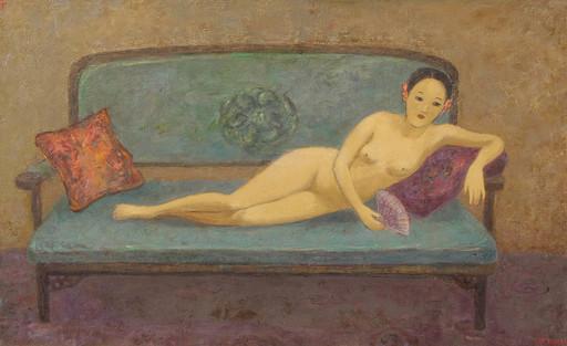 JIA Juanli - Gemälde - Nu à l'éventail