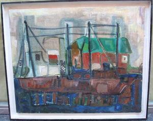 María Antonia DANS - Pintura - Barco y Casas