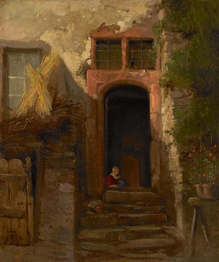 Andreas ACHENBACH - Painting - Kleinkind in der geöffneten Haustüre spielend.