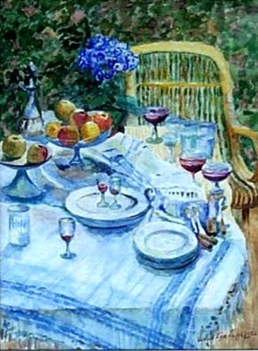 Igor Emanuilovich GRABAR - Zeichnung Aquarell - Still life with flowers and fruits