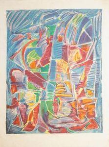 André LANSKOY - Grabado - Composition sur fond bleu