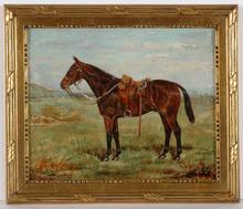 "W. Wasdell TRICKETT - Pintura - ""Horse portrait"" oil painting, 1913"