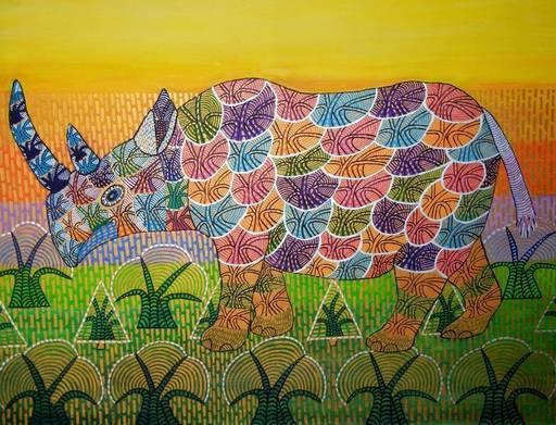 Annemarie HOFFMANN - Painting - BaumNashorn    (Cat N° 6408)