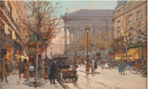 Eugène GALIEN-LALOUE - Drawing-Watercolor - Vue animée de Paris