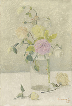 Achille LAUGÉ - Peinture - Bouquet de roses dans un vase transparent