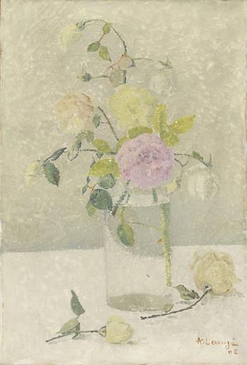 Achille LAUGÉ - Painting - Bouquet de roses dans un vase transparent