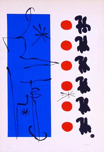胡安·米罗 - 版画 - Red and Blue | Rouge et bleu