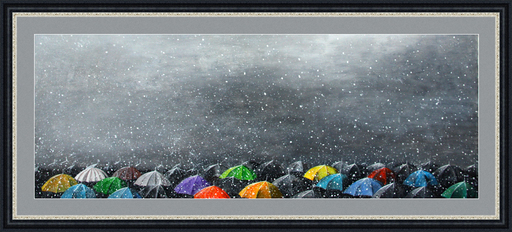 Zurab GIKASHVILI - Painting - Umbrellas. Snow