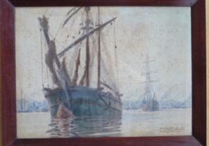 Albert Ferdinand DUPRAT - Disegno Acquarello - bordeaux le port