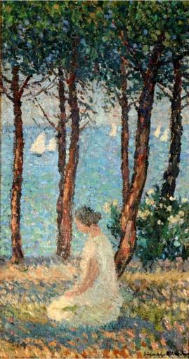 Henri MARTIN - Pintura - Jeune fille dans un parc