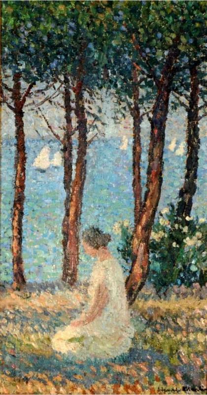 Henri MARTIN - Painting - Jeune fille dans un parc