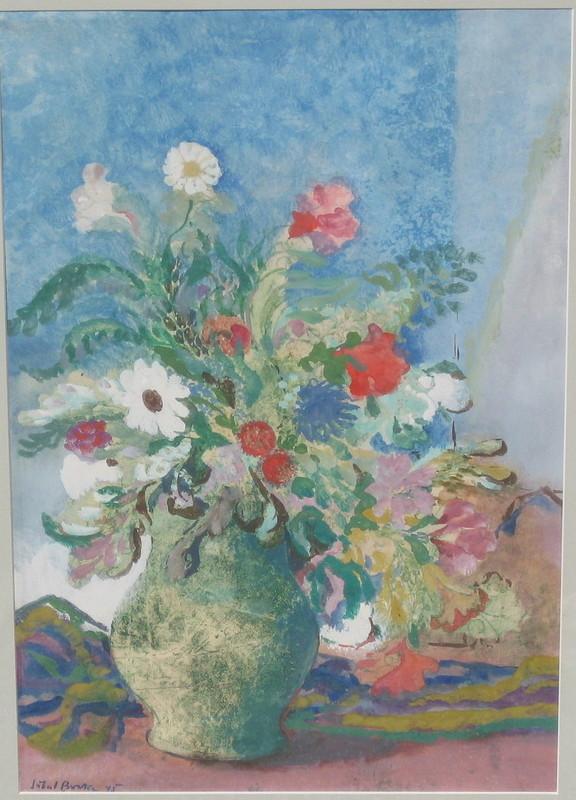 Hubert BERKE - Zeichnung Aquarell - Blumenstilleben