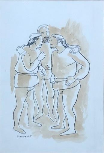 Luis SEOANE LOPEZ - Dibujo Acuarela - coversacion