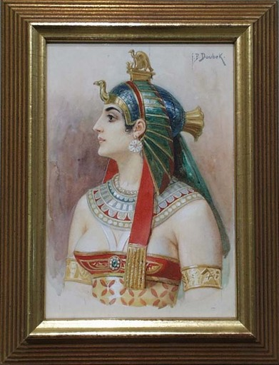 "Frantisek Bohumil DOUBEK - Drawing-Watercolor - ""Pharaoh's Wife"", late 19th Century"